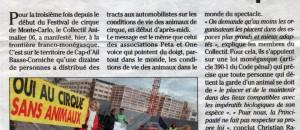 Manifestation du collectif à la frontière monegasque