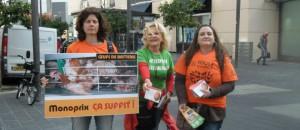 Distribution de tract devant le monoprix de l'Avenue Jean Medecin (Nice) avec L214