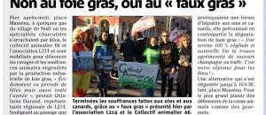 Action du 14 decembre 2013, contre le foie gras