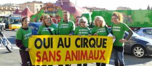 Action cirque sans animaux devant le cirque de Venise