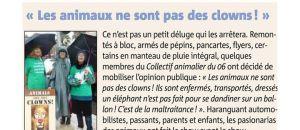 article de Nice Matin du 23 février 2015- Action «oui au cirque sans animaux»