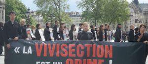 Manifestation à Paris pour demander la fin de l'expérimentation animale